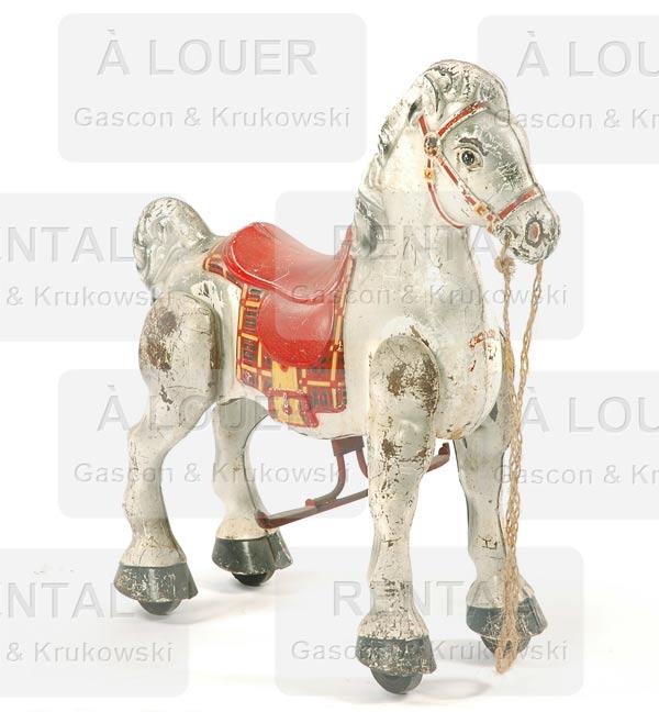 Jouet cheval de métal blanc pour enfants, antique, patiné usé