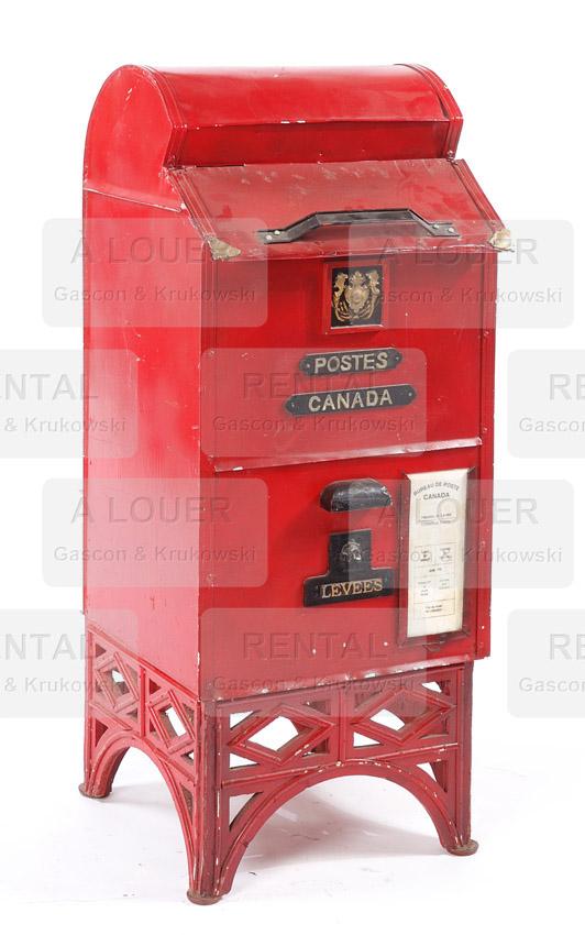 Boîte postale métal rouge, poste canada