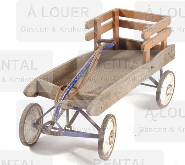 Chariot / traîneau d'enfant en bois avec dossier