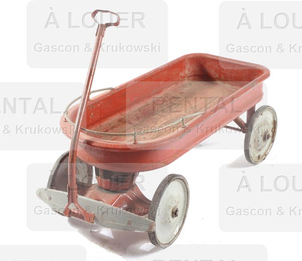 Chariot / traîneau d'enfant métal rouge