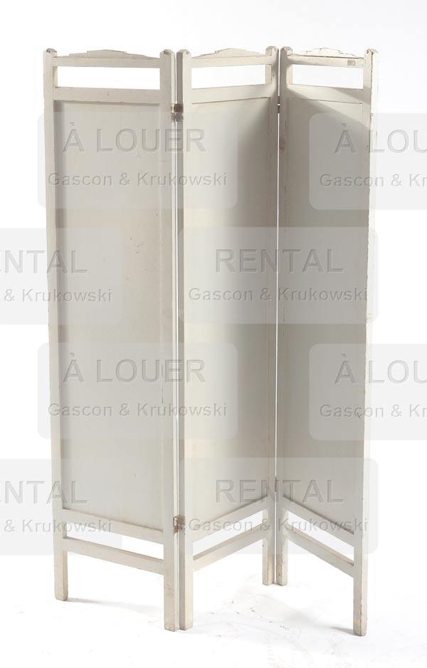 Paravent en bois 3 panneaux cadre pr sentement peint for Meubles osier montreal