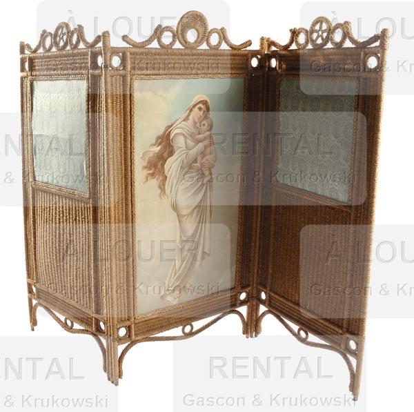 Paravent en osier + tissu imprimé image religieuse