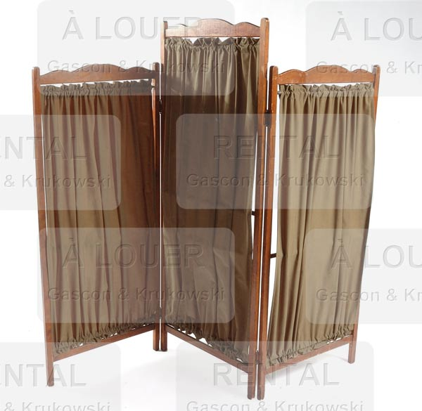 Paravent en bois, tissu vert, 3 panneaux