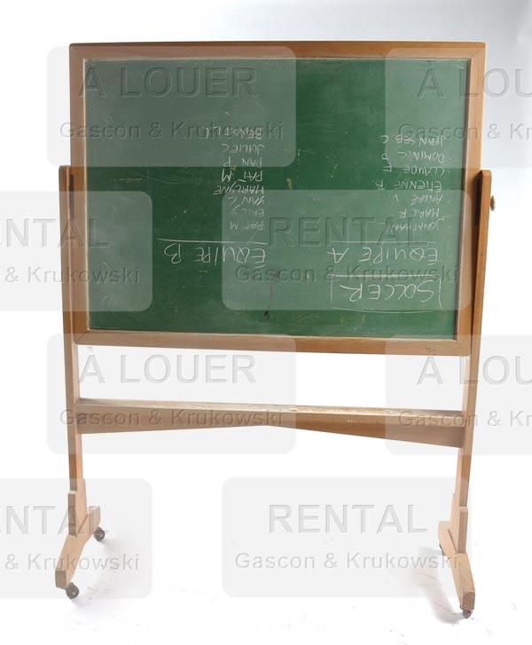 Tableau décole pivotant 2 côtés ardoise verte ou noir structure en bois sur