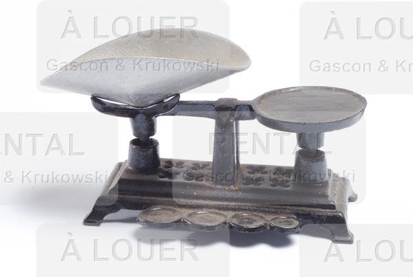 Balance base en fonte noire plateau argenté antique – petite mini