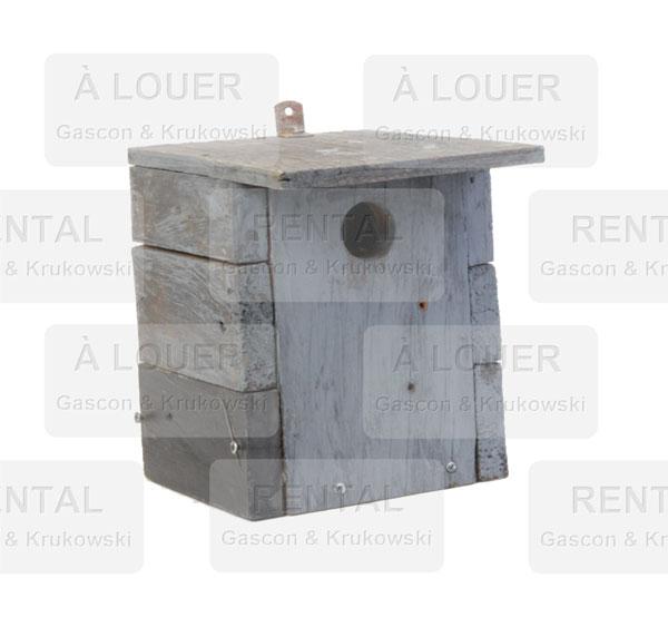 Cabane à oiseau carrée, bois gris