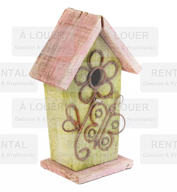 Cabane à oiseau, bois vert et rose